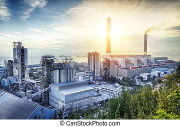 ライト, 産業, 石油化学, 白熱, sunset.