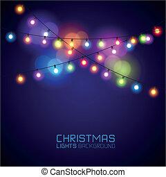 ライト, 白熱, カラフルである, クリスマス