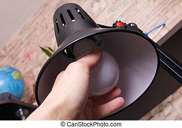 ライト, 部屋, ねじり, 電球, 手