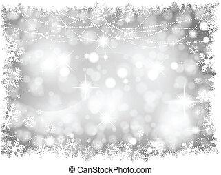 ライト, 銀, 背景, クリスマス
