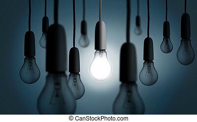 ライト, 1(人・つ), 火をつけられた, 電球, の上