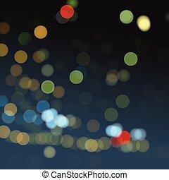 ライト, bokeh, 有色人種, night., ぼんやりさせられた