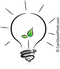 ライト, eco 友好的, 電球, 実生植物
