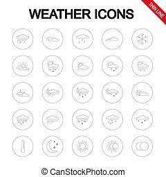 ライン。, vector., set., アイコン, 普遍的, 薄くなりなさい, weather.