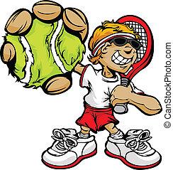 ラケット, ボール, テニスプレーヤー, 保有物, 子供