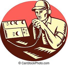 ラジオ, 木版, オペレーター, 円, ハム