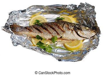 ラッパー, 背景, レモン, 隔離された, 白, セットされる, fish, に薄く切る, パセリ, 海