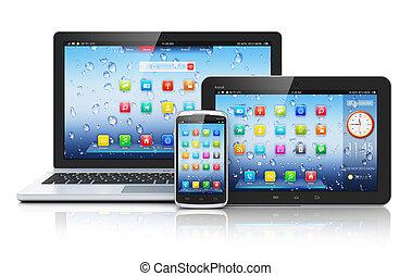 ラップトップ, タブレットの pc, smartphone