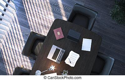 ラップトップ, テーブル, 内部, 部屋, rendering., の上, 現代, 木製である, 会議, 大きい, 3d, それ