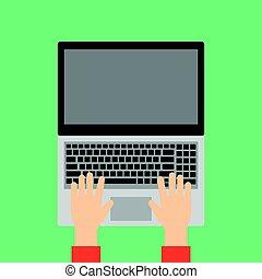 ラップトップ, 手, keyboard., タイプ