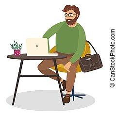 ラップトップ, 隔離された, オフィス, 仕事, 彼の, pc, タブレット, 労働者, ビジネスマン, white., テーブル