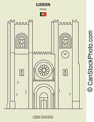 ランドマーク, portugal., アイコン, 大聖堂, リスボン