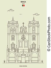 ランドマーク, portugal., アイコン, 大聖堂, braga