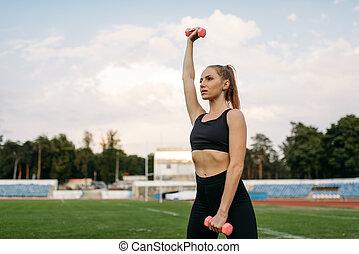 ランナー, スポーツウェア, ダンベル, 女性, 手掛かり