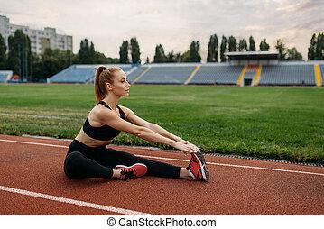 ランナー, スポーツウェア, 競技場, 訓練, 女性