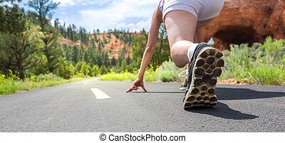 ランナー, フィート, スポーツ, クローズアップ, 靴