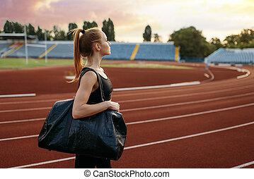 ランナー, 袋, 競技場, スポーツ, 訓練, 女性, 手掛かり
