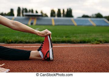 ランナー, 試し, スポーツウェア, 競技場, 女性