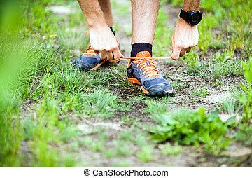 ランナー, 靴, 結ぶこと, スポーツ