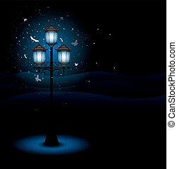 ランプ, 通り, 古い, 夜