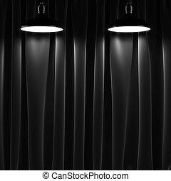ランプ, 黒, 2, カーテン
