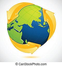 リサイクルしなさい, 地球, シンボル, のまわり