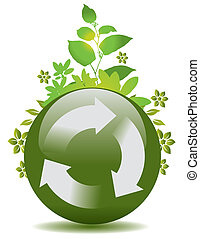 リサイクルしなさい, 地球, 緑, シンボル