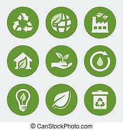 リサイクル, セット, エコロジー, ベクトル, アイコン