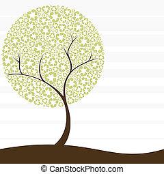 リサイクル, 概念, 木, レトロ