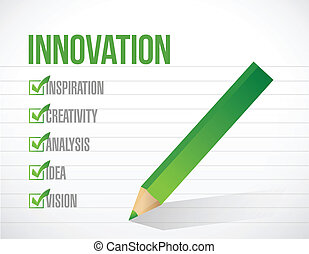 リスト, イラスト, 印, デザイン, 革新, 点検