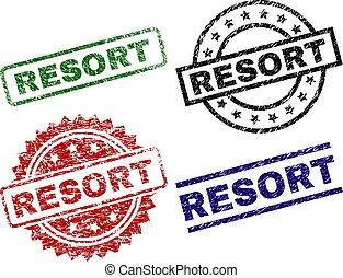 リゾート, グランジ, textured, スタンプ, シール