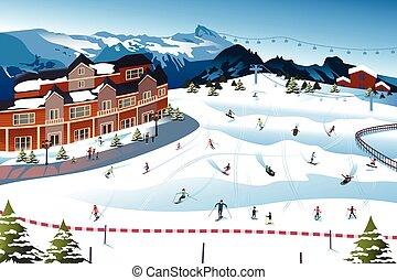 リゾート, スキー, 現場