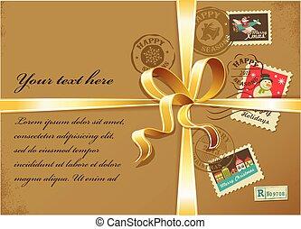 リボン, カラフルである, クリスマス, スタンプ, 箱, 金, プレゼント