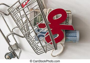 リボン, 結ばれた, cart., 現金, ミニ, 回転した, 買い物