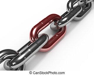 リンク, 鉄, 鎖, 赤