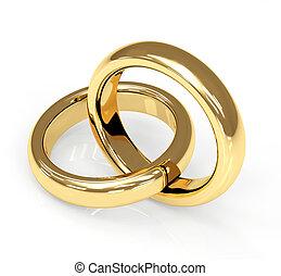 リング, 3d, 2, 金, 結婚式