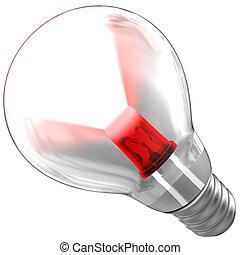 リードした, ライト, 中, 梁, 電球, 出ること