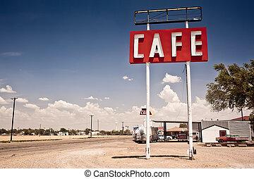ルート, 印, 歴史的, 66, texas., 前方へ, カフェ