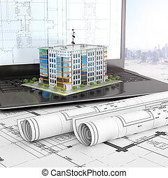 レイアウト, projects., 住宅の, ラップトップ, イラスト, 家, 開いた, 図画, 3d