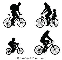 レクリエーションである, シルエット, bicyclists