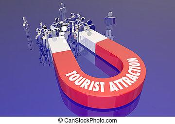 レクリエーション, 観光客, 旅行ディスティネーション, 磁石, 魅力, 言葉, 休日, 旅行