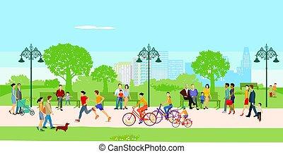 レジャー, 都市 公園, illustration.eps, 人々