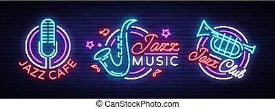 レストラン, シンボル, 広告, 旗, 夜, ロゴ, イラスト, ジャズ, ネオン, コレクション, 明るい, ベクトル, 音楽, signs., concert., カフェ, 明るい, パーティー, スタイル