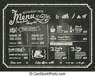 レストラン, 食物, メニュー, デザイン, 黒板, 背景