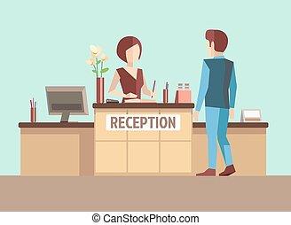 レセプション。, ベクトル, スタイル, 平ら, 概念, 顧客