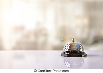 レセプション, ホテル, サービス, 背景, 鐘