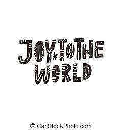 レタリング, クリスマス, 世界, 喜び