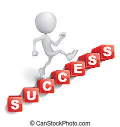 レタリング, 作られた, 単語, 成功, 人, 立方体, 登山階段, 3d