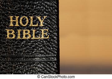 レタリング, 聖書, 古い, 神聖, 金, 脊柱, 上に, ぼやけた背景