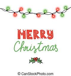 レタリング, 装飾, 年, ボーダー, design., ライト, 隔離された, バックグラウンド。, 白熱, 黒, 新しい, クリスマス, 赤いひも, 花輪, transparency., イラスト, 陽気, パーティー, カード, ライト, ベクトル, 緑